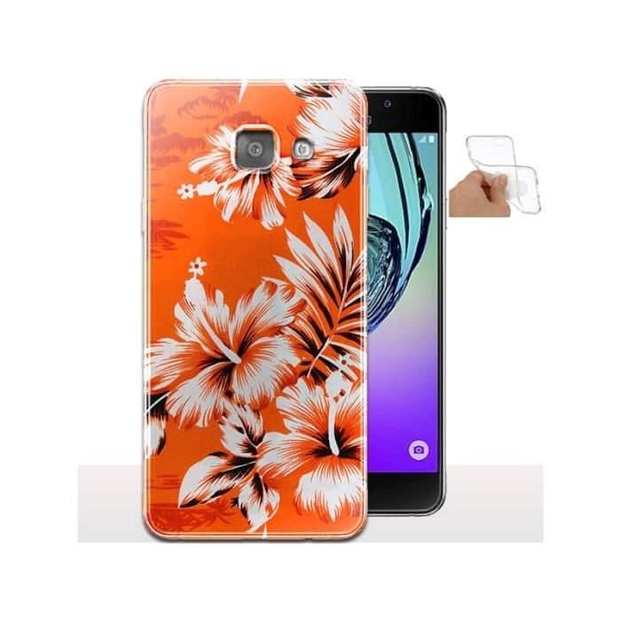 Coque A3 2017 Fleurs Oranges Tropicales / Housse Samsung Galaxy - Gel Souple - Motif Floral