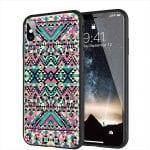 iPhone XR, X, XS, 11 - Coque avec motif Azteque Turquoise - Plexiglass
