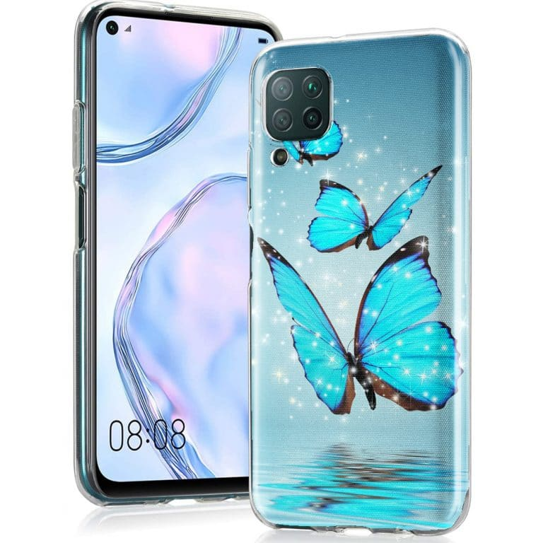 Coque Animaux Huawei P40 Lite Papillon Turquoise, housse bumper Silicone