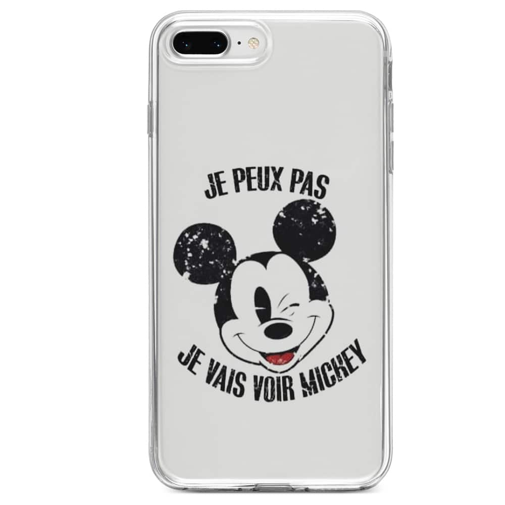 Coque iPhone SE 2020 Silicone je peux pas je vais voir mickey