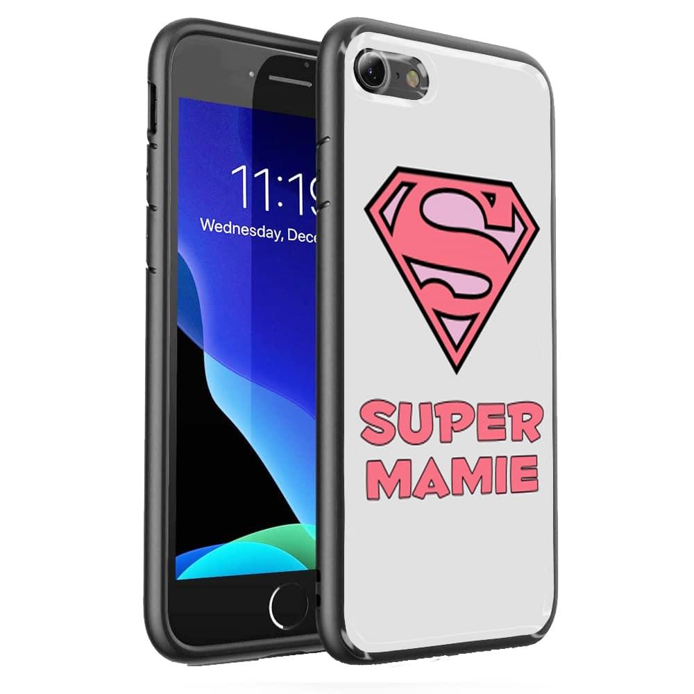 Coque iPhone SE 2020 Super Mamie Verre Trempé