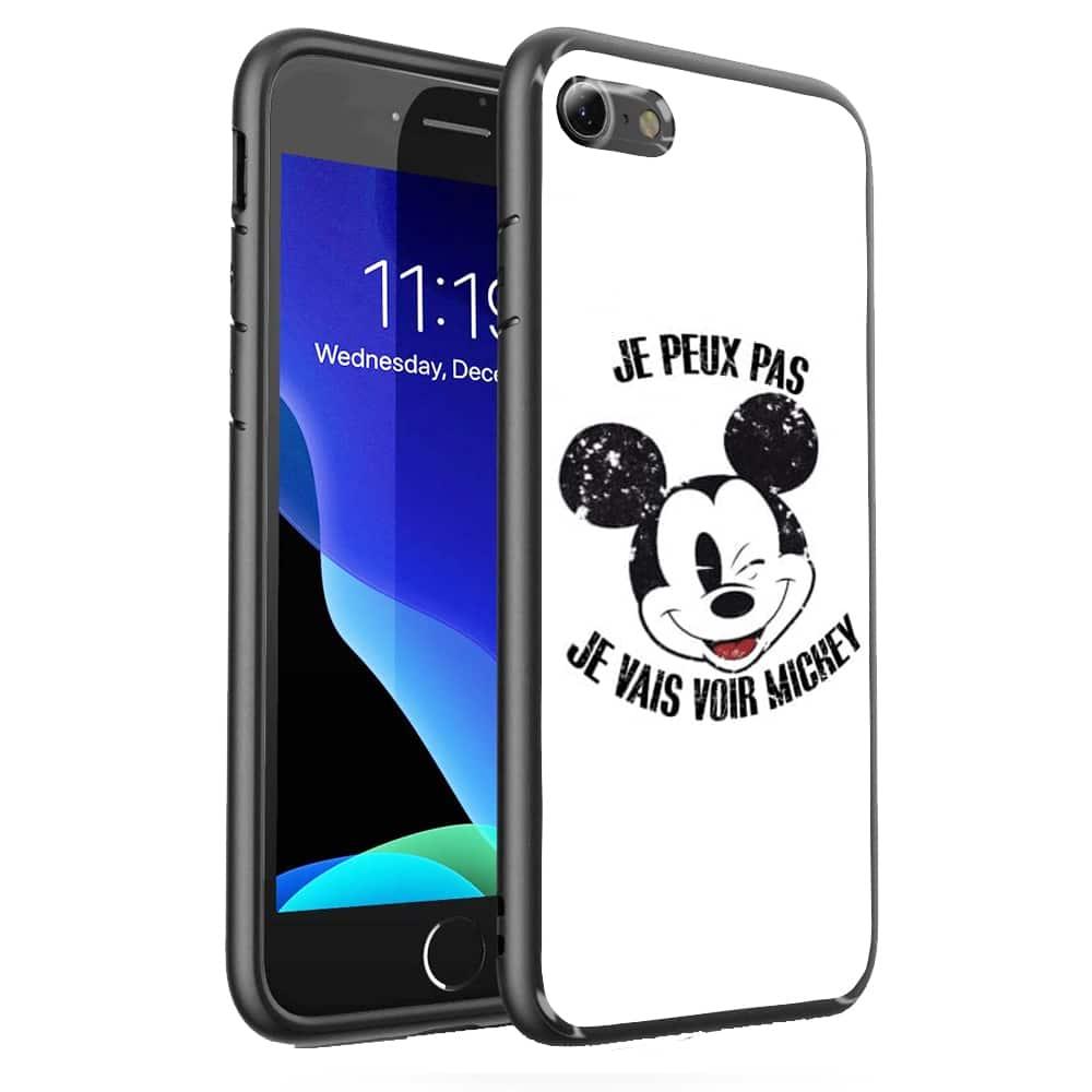 Coque iPhone SE 2020 Verre Trempé je peux pas je vais voir mickey