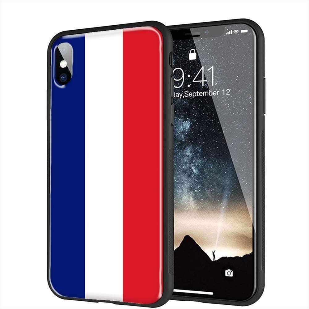 coque iPhone X drapeau Français Verre Trempé
