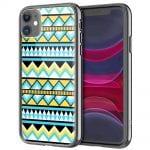 Coque renforcée en Verre Trempé pour iPhone 12, Motif Aztec Bleu Jaune