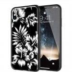 Coque Hybride Fleurs sauvages Noires en Verre pour Tel portable iPhone, Samsung, Huawei