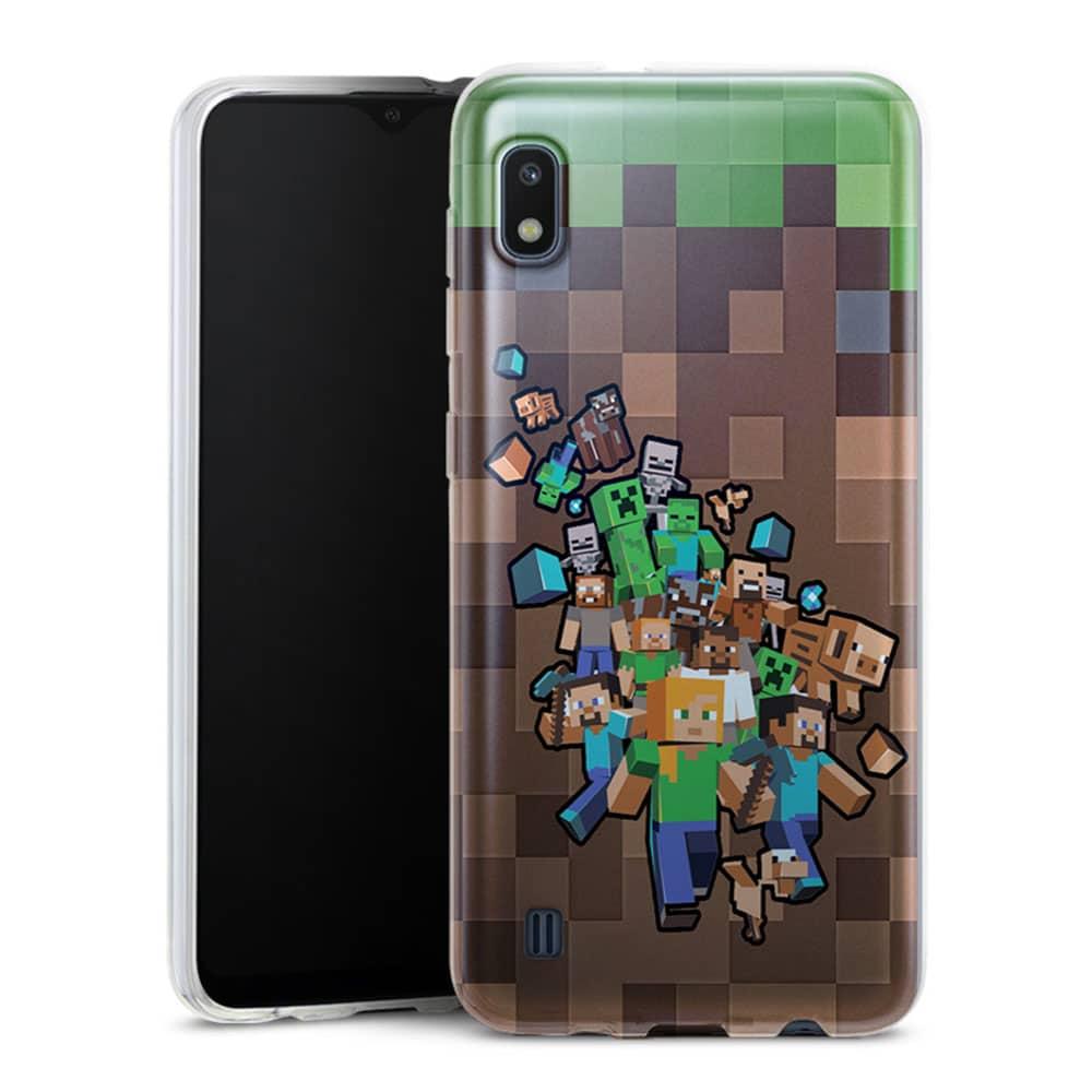 Coque telephone Samsung A10 Minecraft creeper forest